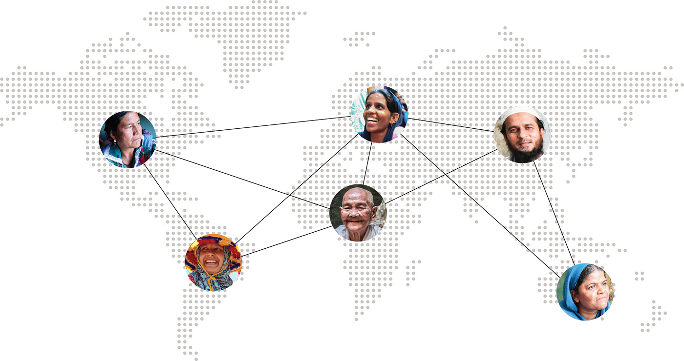 Map of the world with pictures of faces connected by black lines