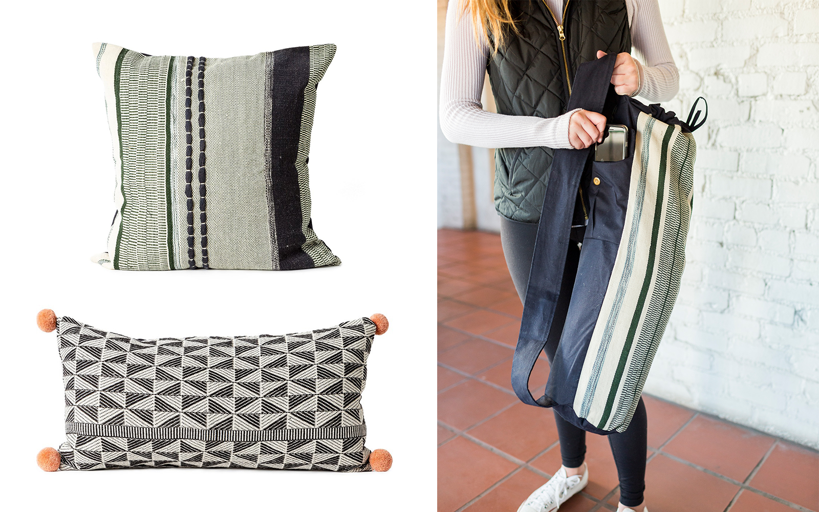 Awamaki woven pillows and yoga mat bag available on The Little Market